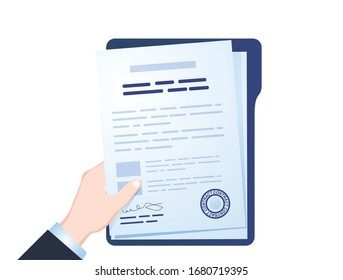 Contract icon agreement pen on desk flat business illustration vector. Electronic contract or digital signature concept in vector illustration. Online e-contract document sign. Business illustration