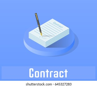 Contract icon, vector symbol in flat isometric style isolated on color background.