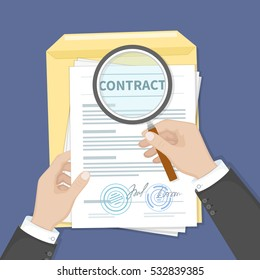 Contract inspection concept. Hands holding magnifying glass over a contract. Contract with signatures and stamp. Research documents.