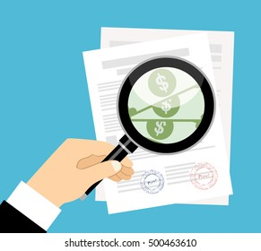 Contract inspection concept vector illustration in flat design. Businessman hand checking contract with a magnifying glass,before signing and see money.