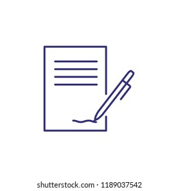 Contract line icon. Paper, document, agreement, pen. Paperwork concept. Can be used for topics like office supply, signing, dealing, business