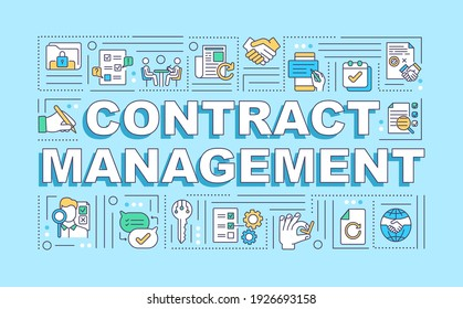 Contract management word concepts banner. Reducing financial risk. Creation, execution. Infographics with linear icons on blue background. Isolated typography. Vector outline RGB color illustration