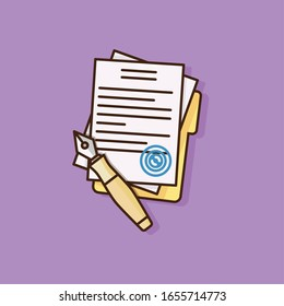 Contract with pen and folder in trendy flat outline style. Agreement with blue stamp. Business vector illustration isolated on a purple background.