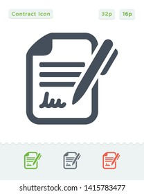 Contract & Pen - Sticker Icons. A professional, pixel aligned icon.