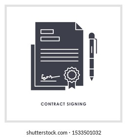 Contract sign icon design template vector isolated illustration