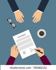 Contract signing flat vector illustration.  Businessman signs treaty document. Conclusion of work contract. A person signs a contract of employment. Concept of the counter, transactions