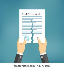 Contract termination concept. Businessman hands tearing apart a contract.