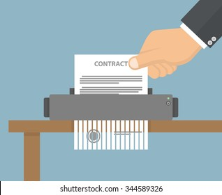 Contract termination concept. Hand putting contract paper in to the shredder machine. Flat style