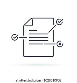 Contract terms and conditions. Document paper with creative writing or storytelling concept. Read brief summary, assignment vector line icon thin stroke illustration