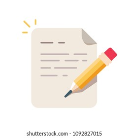 Contract terms and conditions. Document paper and creative writing or storytelling, business brief text, write summary for assignment vector line icon thin stroke illustration.