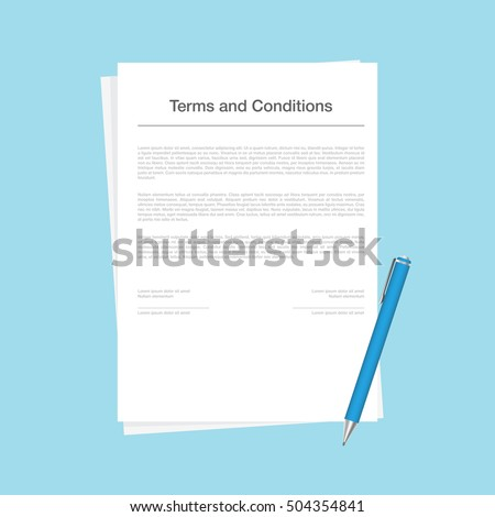 Contract Terms Conditions Document Vector Illustration Stock ...