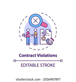 Contract violations concept icon. Consumer rights violation claim idea thin line illustration. Unfair trade practices. Contract breach. Vector isolated outline RGB color drawing. Editable stroke