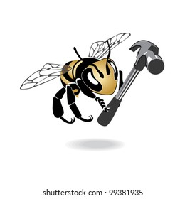 Contractor bee character with hammer, vector illustration. Both objects can be used separately.