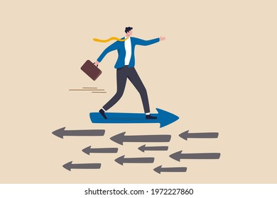 Contrary investment, be different in opposite direction concept, businessman riding arrow in different direction or other people or mainstream. - Shutterstock ID 1972227860