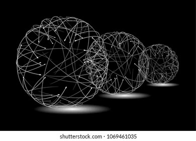 Contrast Abstract Black and White Geometric Pattern with Silhouettes of a Sphere. Optical Psychedelic Illusion. Technological Wicker Structural Texture. Print in a Flat Style. Vector. 3D Illustration