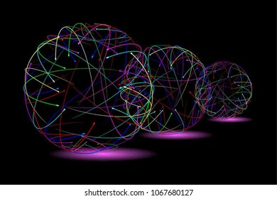 Contrast Abstract Rainbow Geometric Pattern with Silhouettes of a Sphere. Colorful Optical Psychedelic Illusion. Technological Wicker Structural Texture. Print in a Flat Style. Vector. 3D Illustration
