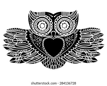 Contrast aztec owl in a tattoo style