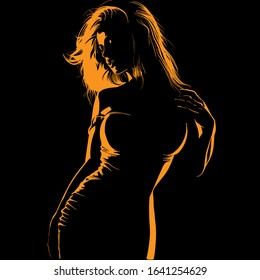 Contrast Beautiful girl face and body with fitting dress. Silhouette in backlight. Vector. Illustration.