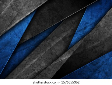 Contrast black and blue glossy stripes. Abstract grunge tech graphic design. Old wall concrete texture. Vector corporate background