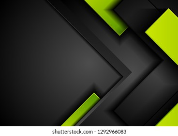 Contrast black and green abstract tech geometric background. Vector design
