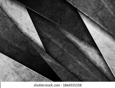 Contrast black and white glossy stripes. Abstract grunge tech graphic design. Old wall concrete texture. Vector corporate background