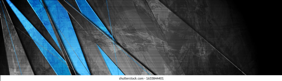 Contrast blue and grey stripes. Abstract grunge tech banner design. Old wall concrete texture background. Vector illustration