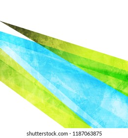Contrast bright green and blue grunge stripes abstract background. Vector design