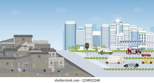 Contrast city between Landscape of slum city or old town slum and urban city landscape with contemporary buildings, gap between poverty and richness, conceptual vector illustration.