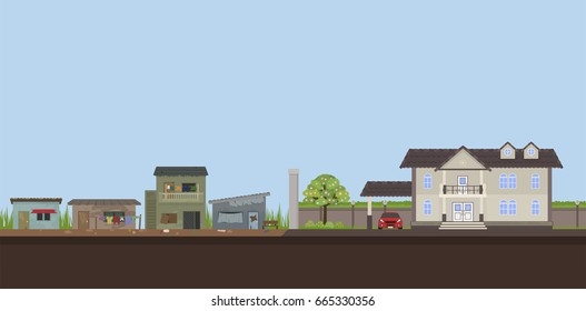 Contrast city between poverty and richness, luxury house and slum, Landscape Vector