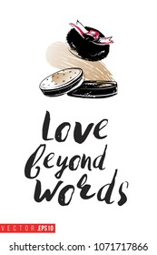 Contrast compact powder puff with text label: love beyond words. Fashion banner for makeup salon, beauty store. Promo background for makeup artist, beauty stylist, fashion blog. Cosmetic concept.