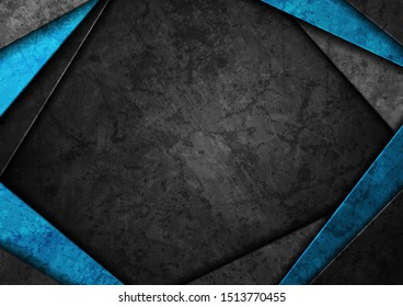 Contrast dark grey and blue curved stripes. Abstract grunge tech graphic design. Old wall concrete texture. Vector corporate background