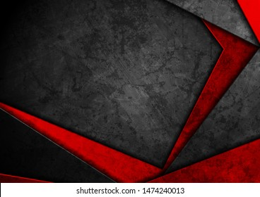 Contrast dark grey and red curved stripes. Abstract grunge tech graphic design. Old wall concrete texture. Vector corporate background