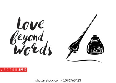 Contrast eyeliner stroke with text label: love beyond words. Fashion banner for makeup salon, beauty store. Promo background for makeup artist, beauty stylist, fashion blog. Cosmetic concept.