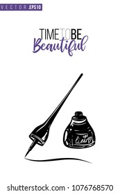 Contrast eyeliner stroke with text label: time to be beautiful. Fashion banner for makeup salon, beauty store. Promo background for makeup artist, beauty stylist, fashion blog. Cosmetic concept.