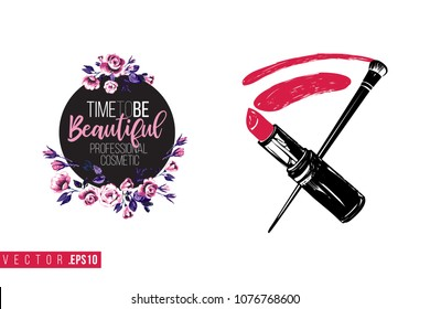 Contrast lipstick smear and brush with text label: time to be beautiful. Fashion banner for makeup salon, beauty store. Promo background for makeup artist, beauty stylist, fashion blog.