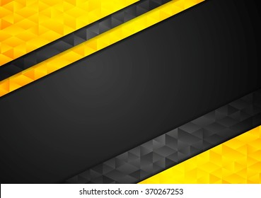 Contrast orange black corporate polygonal background. Vector tech triangles graphic design template