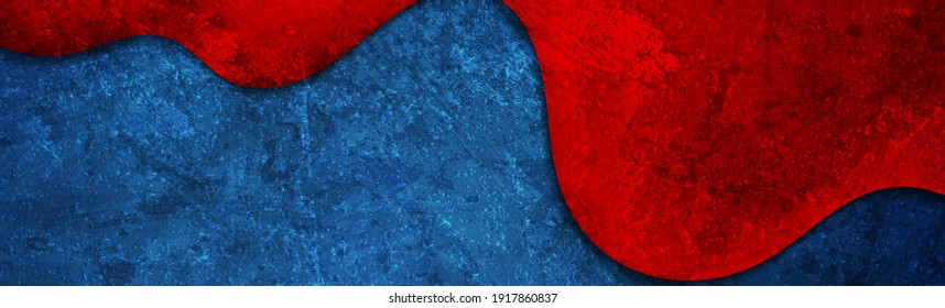 Contrast red and blue wave abstract corporate background with grunge concrete texture. Vector banner design template