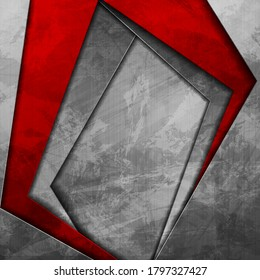 Contrast red and grey curved stripes. Abstract grunge tech graphic design. Old wall concrete texture. Vector corporate background
