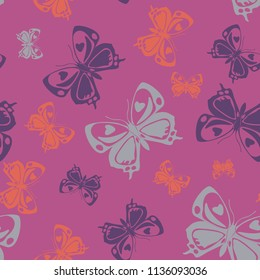 Contrast seamless butterfly iterative background isolated on contrast back layer. Season butterfly repeat theme vector. Wildlife insect fauna artwork for clothing fabric.