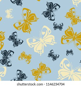 Contrast seamless butterfly iterative template isolated on contrast back layer. Flying butterfly repeat theme vector. Wildlife insect fauna clipart for wallpaper.
