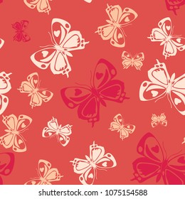 Contrast seamless butterfly iterative texture isolated on contrast back layer. Season butterfly repeat theme vector. Wildlife insect fauna artwork for wallpaper.
