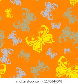 Contrast seamless butterfly iterative texture isolated on contrast back layer. Wildlife butterfly repeat theme vector. Wildlife insect fauna clipart for garments.