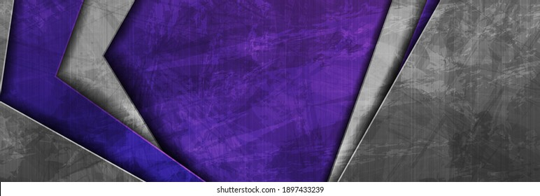 Contrast violet and grey abstract grunge tech banner design. Old wall concrete texture background. Vector illustration