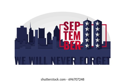 Contrasting composition from silhouette of the city for patriot day. September 11. We will never forget. Abstract American Twin Towers