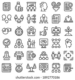 Contribute work icons set. Outline set of contribute work vector icons for web design isolated on white background