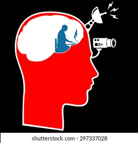 control of attention male head icon with a an atention sign vector