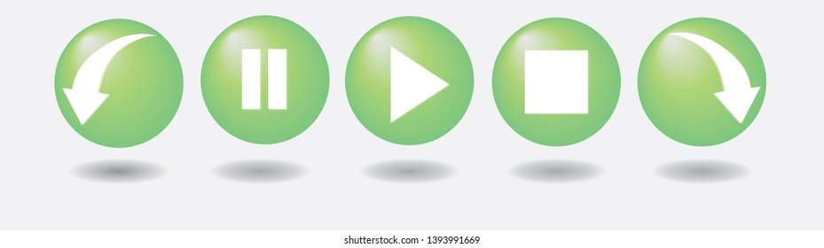 Control buttons for video playback or green music.