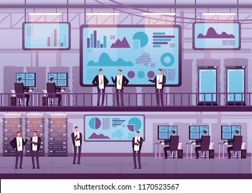 Control center. Business people working with computers big monitor. Brokers trading on stock exchange in datacenter. Vector concept broker people, market finance illustration