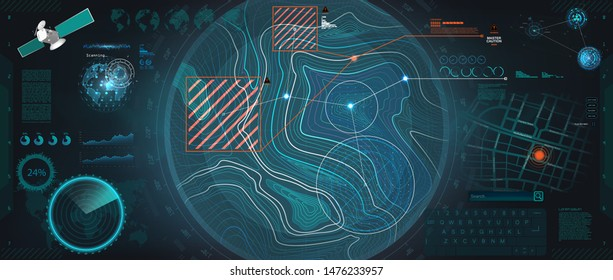 Control Center HUD, Terrain view from satellite with futuristic digital interface. Radar HUD topographic map. Sky fi elements and Earth landscape scanning. concept of communication technology. Vector