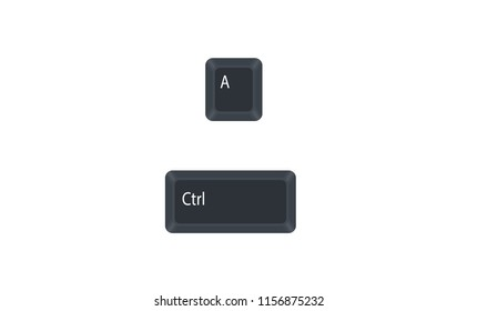 Control (Ctrl) and A computer key button vector isolated on white background. Ctrl+A for selects all in the current document.